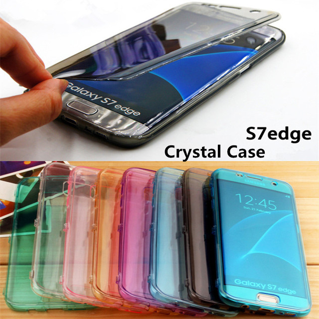 reputable site 84c4e d7b3c US $1.99 5% OFF|S7edge Crystal Case for Samsung Galaxy S7 edge Flip  Transparent Clear Soft Silicone Cases Flexible Cover 7s black SM G9350-in  Flip ...
