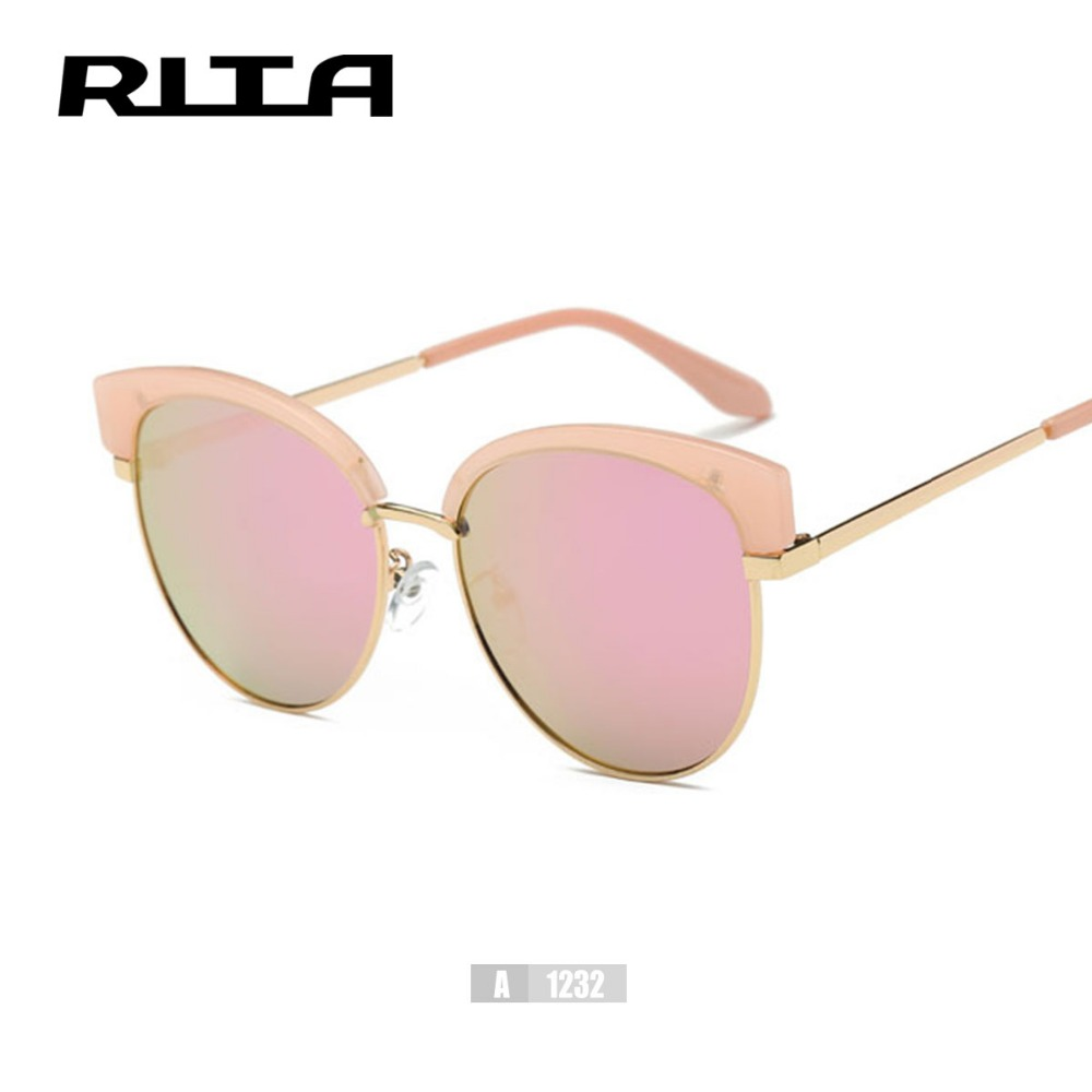 0a62b431c New Brand Half Rim Sunglasses Cat Eye Sun shades Rita Mirror Lenses Half  frame Goggles Women Tinted Glasses A1232 Oculos de sol-in Women's Sunglasses  from ...