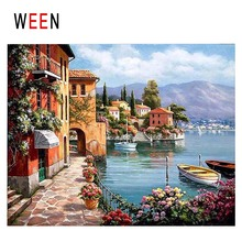 WEEN Seaside Town Diy Painting By Numbers Abstract Flower Oil On Canvas Sea Boat Cuadros Decoracion Acrylic Home Decor