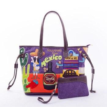 Female Tote Bag 2018 New Korean Embroidery Art Large-Capacity Canvas Bag Simple Hand Shoulder Bag Send mini Bags