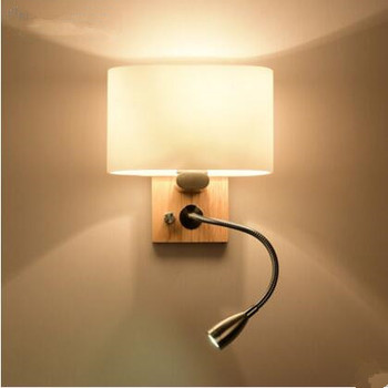 Wood Wall Sconces Nordic Modern LED Wall Light Fixtures For Bedroom With Switch Wooden Wall Lamp Applique Murale