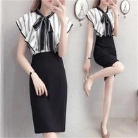 The New spring and summer fashion style sleeveless package hip dress flounced chiffon dress