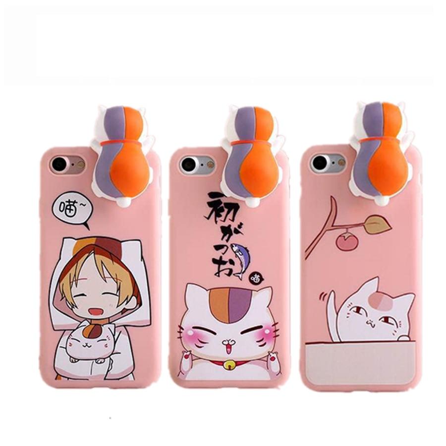 New arrive 3D Maneki Neko Cartoon Cute Lucky Cat Series soft silicone phone Case Cover for iPhone 6 6s 7 8 plus X japan hot