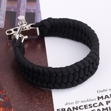 Black ParaCord Rope Outdoor Survival Bracelet Camping Steel Shackle Buckle Wholesale free shipping