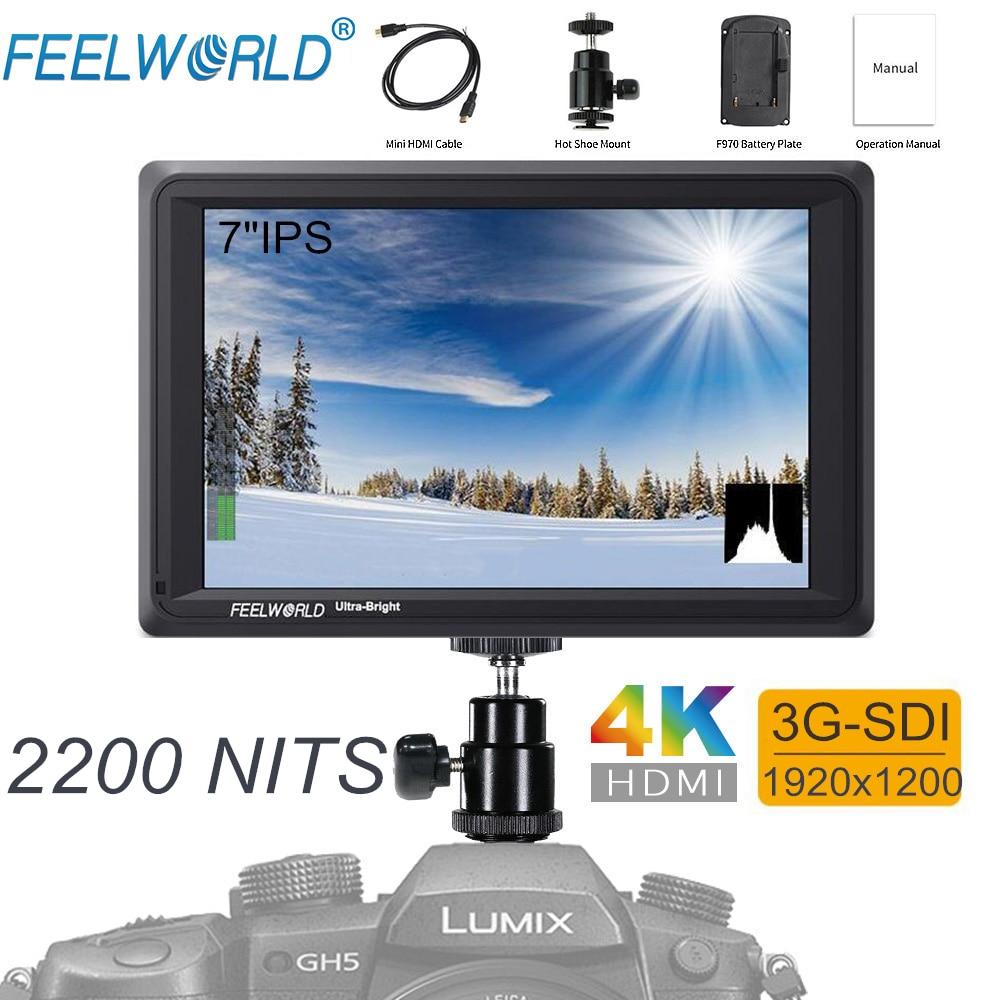 FEELWORLD FW279S 7 pouce IPS 2200 nits 3G-SDI 4 k HDMI Entrée Sortie Caméra Champ Moniteur 1920X1200 DSLR LCD Moniteur pour Vidéo Film