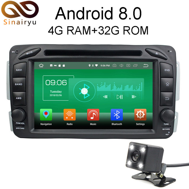 Sinairyu 4G RAM Android 8.0 Car DVD For Mercedes Benz ML W163 CLK W209 W203 W170 W210 W168 Octa Core Radio GPS Player Head Unit