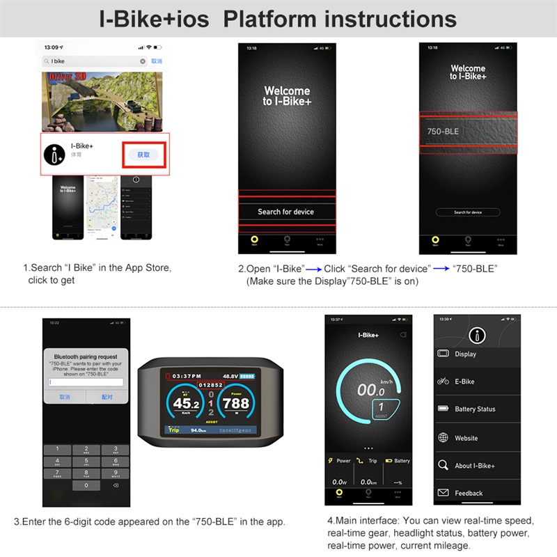 BAFANG 750C Bluetooth Navigation Display Mid Drive BBSXX EBIKE Conversion Kit