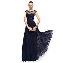 2015 Fashion Sexy Navy Blue With Beads Sequins Long Evening Dresses Women Prom Chiffon