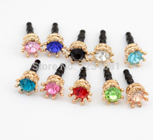 Fashion Style Solid Hollow Small Crown Drill Design Mobile Phone Ear Cap Dust Plug For Iphone Samsung 3.5mm Dust Plug