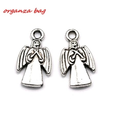 Hot sell ! 20pcs  Fashion Antique Silver Lovely Angel Charms pendants DIY Jewelry 10x19mm (za298)