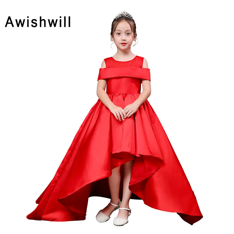 New Arrival Red Color A-line Off Shoulder Satin Asymmetrical Kids Evening   Dress   Cheap   Flower     Girl     Dresses   2019