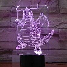 Pokemon Go Dragonite Figure LED Night Lamp for Child Room Decor Battery Light Holiday gift Bedroom night light