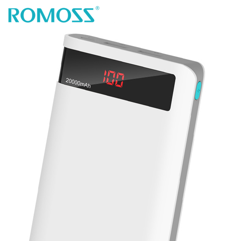 2016 New 20000mAh ROMOSS Sense6P Power Bank External Battery Pack with LCD Display Dual USB for Xiaomi & iPhone & iPad samsung