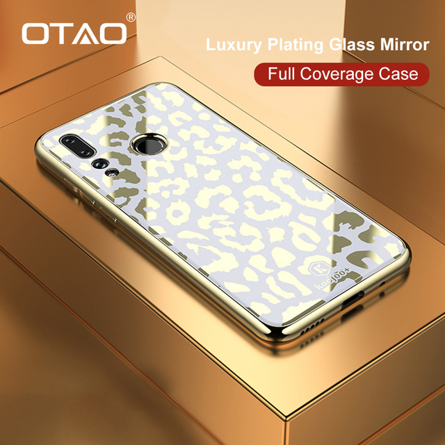 OTAO ציפוי זכוכית הדפס מנומר מקרה עבור Huawei P20 P30 פרו Mate 20 Lite רך TPU מקרי קצה כיסוי עבור Huawei נובה 4 3 3i Coque