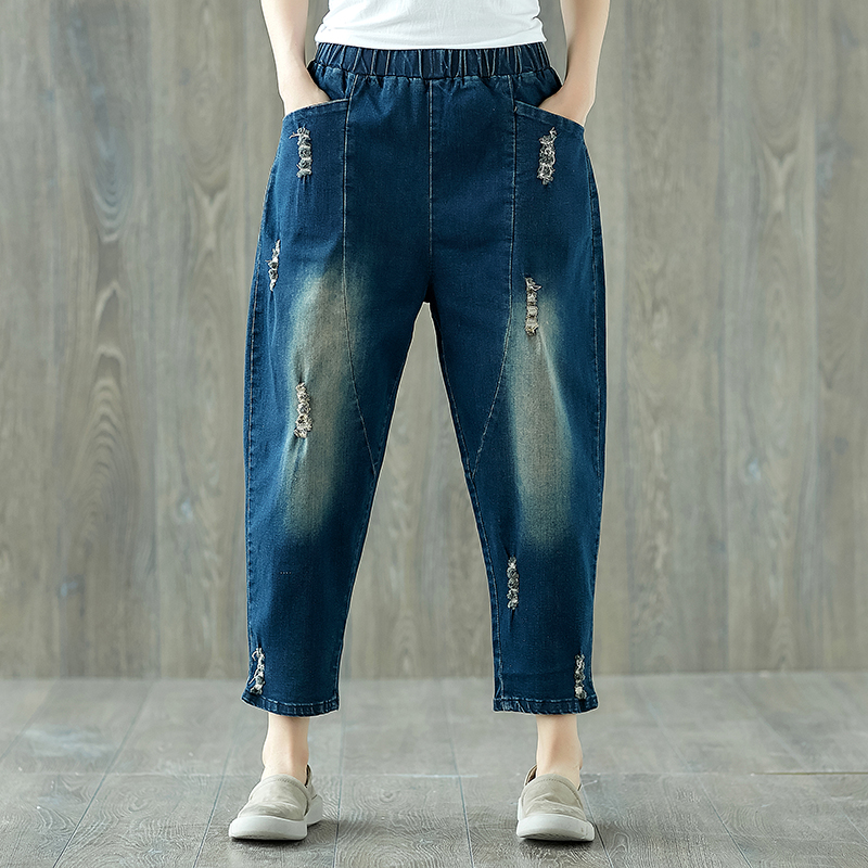 2018 Summer Boyfriend Jeans Harem Pants Plus Size Women Preppy Loose Vintage Ripped Cotton Denim Pants High Waist Jeans 3xl