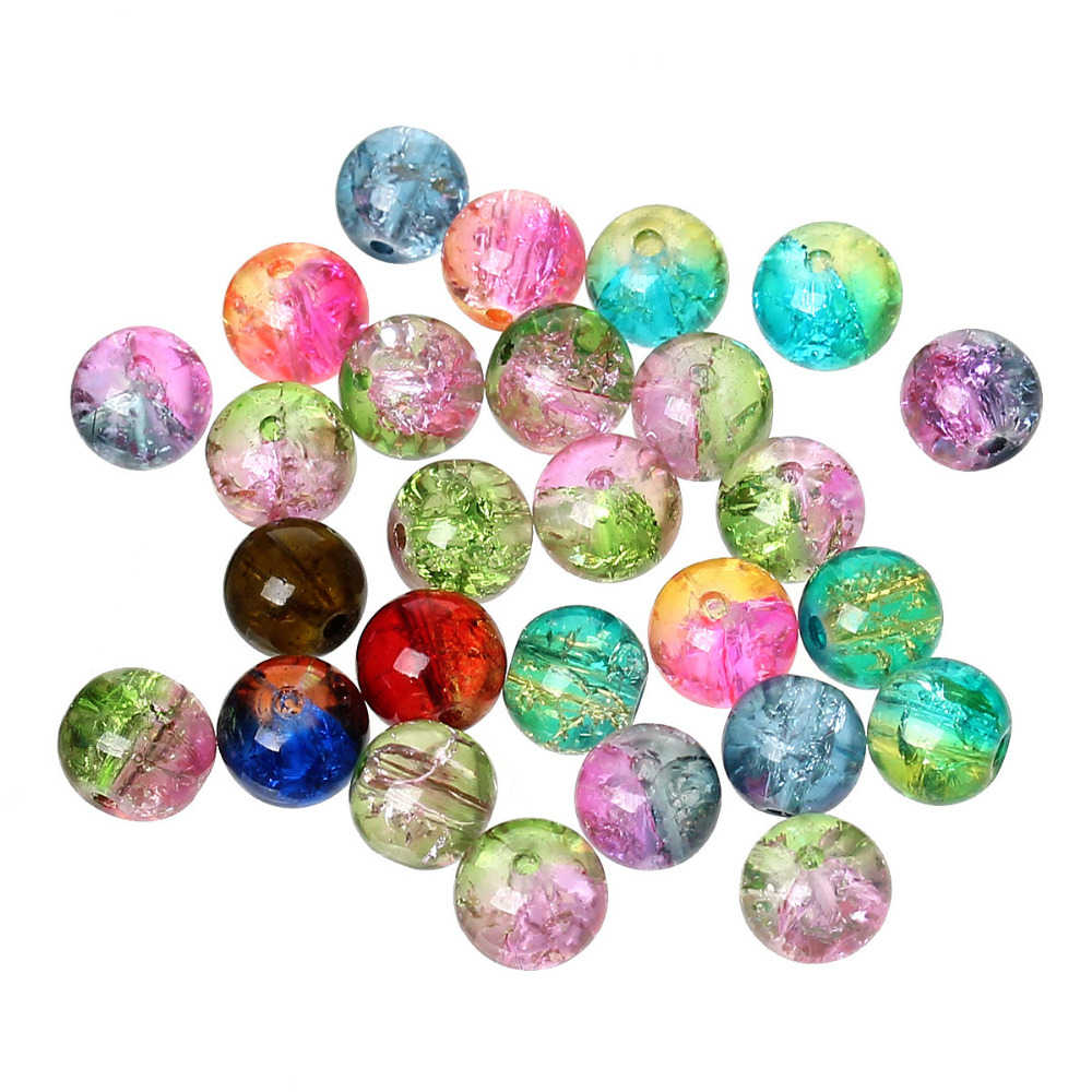 "DoreenBeads Glass Loose Beads Round Mixed Crackle For DIY Jewelry Making About 8mm( 3/8"") Dia, Hole: Approx 1.2mm, 50 PCs"