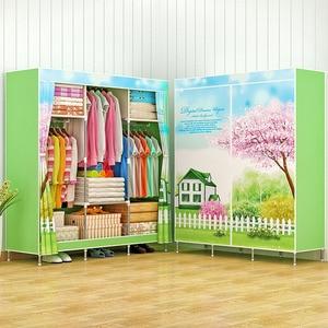 Image 4 - Actionclub風景印刷ワードローブ大型ジッパー不織布ワードローブ鋼フレーム服収納オーガナイザー家具