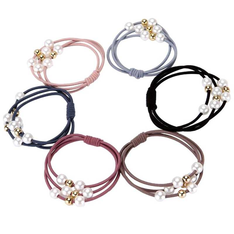 5Pcs/set Imitation Pearl Elastic Three Layer Rubber Bands Ring Headwear Girl Elastic Hair Band Ponytail Hair Rope