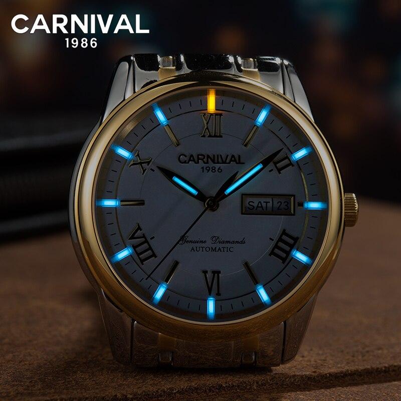 Carnaval T25 Tritium Montre Automatique Hommes Lumineux Mécanique Montres D'affaires Hommes Horloge En Acier Inoxydable Montre-Bracelet kol saati