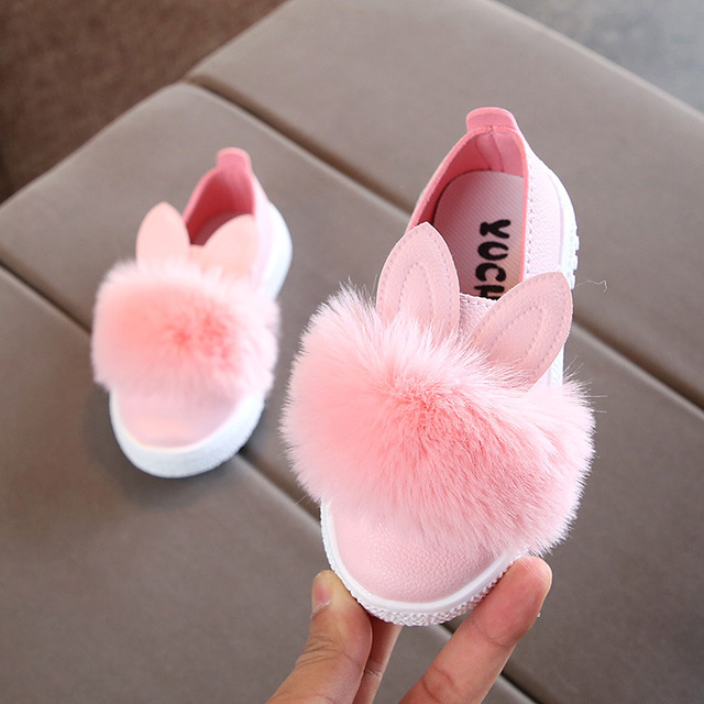 KRIATIV Size 21-30 Baby Shoes for Boy Girl Toddler Non-slip Kids Shoes Leather Kids Sneakers Pompom Rabbit Ear Pink White Green