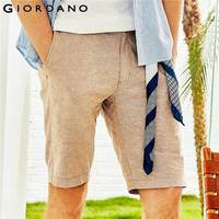 Giordano Men Shorts Men Natural Linen Cotton Mid Low Rise Short Masculino Zip Fly Button Casual Shorts Men Pocket Bermuda