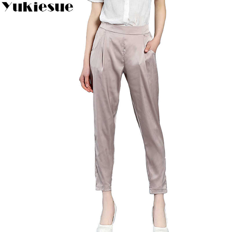 High waist chiffon harem pants solid silk OL office casual pants female trousers rayon Plus size 4XL loose ankle length pants