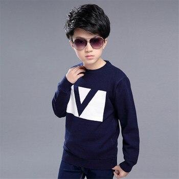 Zoe Saldana Boy's Knitwear 2017 Winter New Kids Thicken V Pattern Fleece Sweatshirt Casual Knitted Warm Brushed Wool Pullovers
