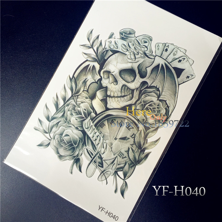 Large temporary tattoo stickers waterproof men arm leg fake transfer tattoo high quality sexy skull clock poker designs
