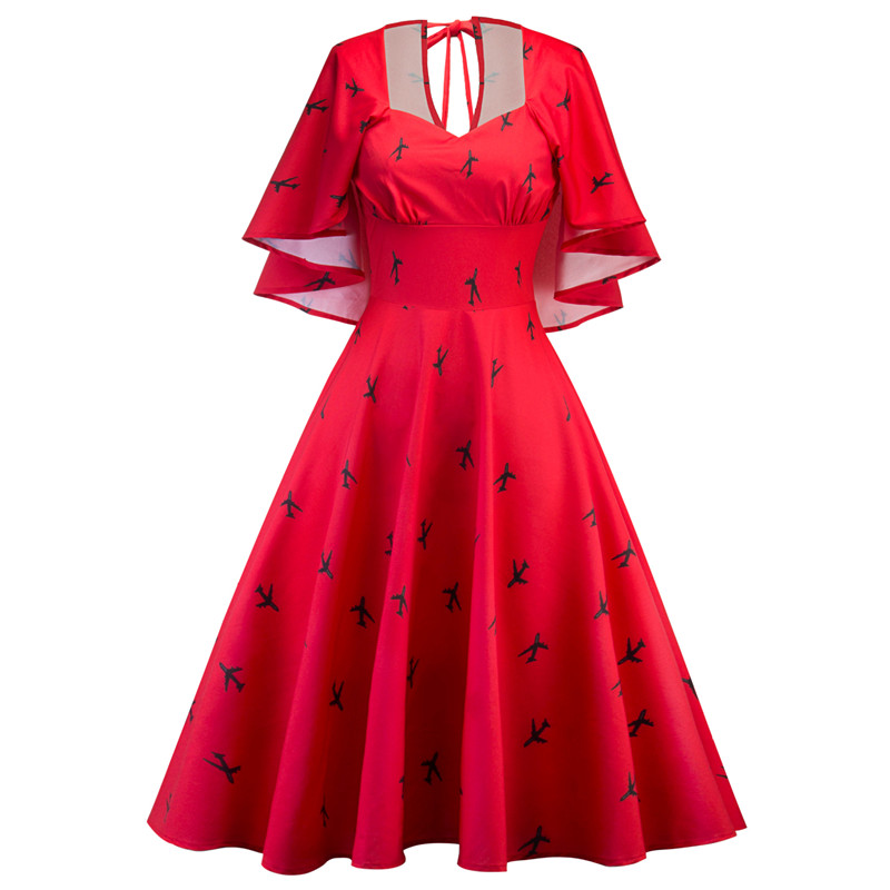 Newest Women 50's 60's Classical  Print V-Neck Vintage Dress Slim Summer Casual Rockabilly Dress Plus Size