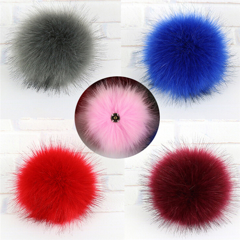 10CM Faux Fox Fur Pom Pom With Press Button Fake Fur Hat Bubble Removable Fur Pompom Metal Buttons Jewelry Findings flower decorated kids headband with pom pom
