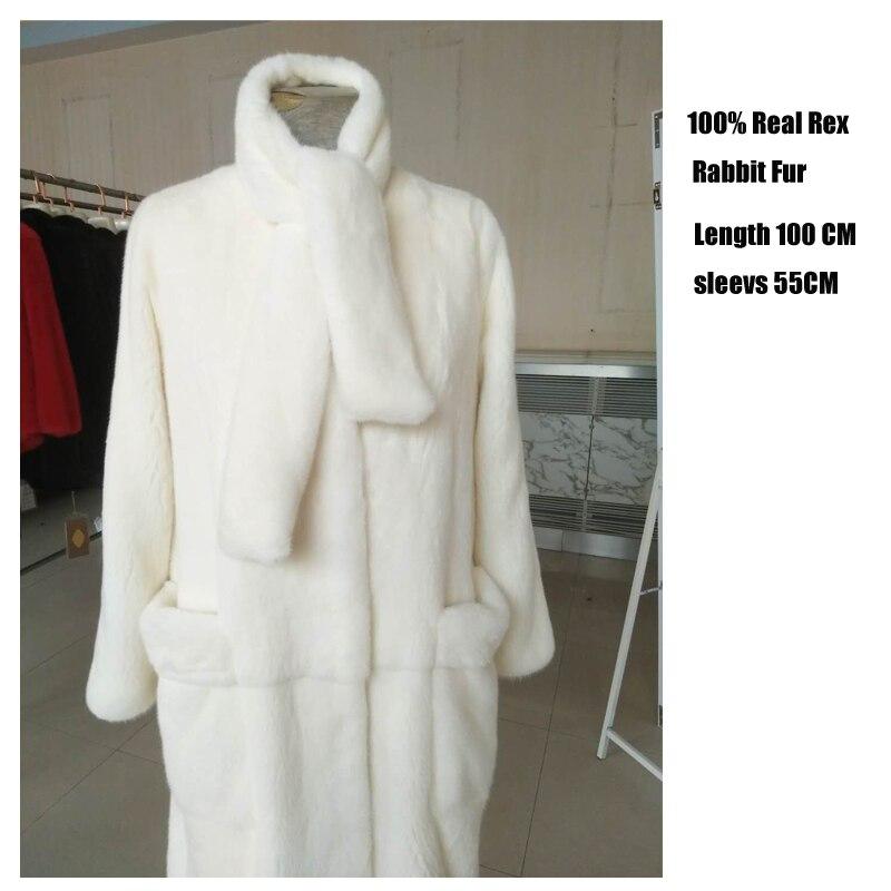 Veste Plus D'hiver Rex Fourrure Nouvelle Chewies De Naturel Long White Réel 8 Et Taille Épais Manteau Factory Outlet Col Femmes Arrivée 10 Bqqw8OS