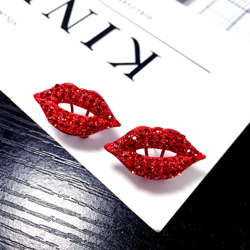 Temperament Earrings Jewelry Rhinestone Women New Red Bijoux Exaggerated Lip Party Sexy
