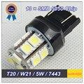 Высокое Качество Светодиодная Лампа для Автомобиля 4 ШТ. T20 W21/5 Вт 7443 13 SMD 5050 Чип DC 12 В Светодиодные Стоп-Сигналы Лампа Клин Оптовая и розничная
