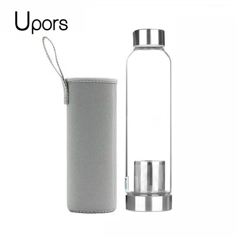 UPORS 550ML High Temperature Resistant Glass Sport Water Bottle with Tea Infuser + Protective Bag Water Bottle