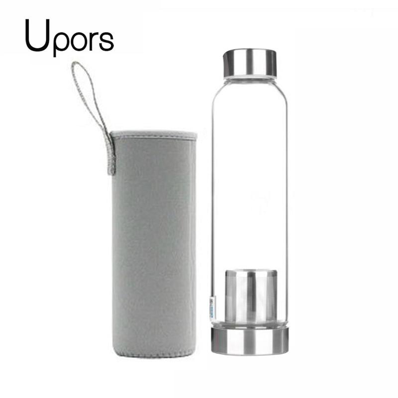 UPORS 550 мл термостойкая стеклянная Спортивная бутылка для воды с заваркой для чая + защитный пакет, бутылка для воды