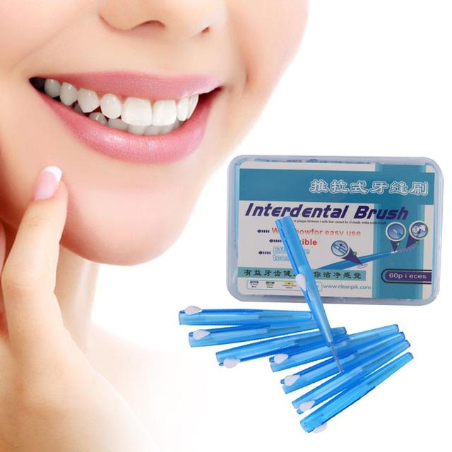 2016 New 60Pcs/Pack Repeatedly Use Dental Oral Care Interdental Floss Brush Brushes 0.7mm Tongue Cleaner Toothpick Brush #BSEL