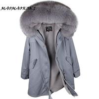 MMK brand parka long new winter jacket women parkas real fur coat real fox fur collar warm thick faux fur inside big fur