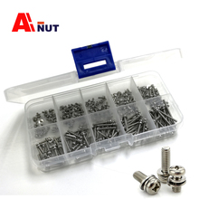 screw kit , m1.6 m2 m2.5 m3 m4 m5 m6 phillips pan head screw double washers assembly bolt, 304 stainless steel combination Screw