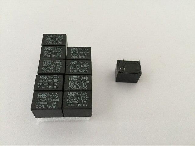 100 Pezzi/lottp JRC 21F 4100 3V DC 3A 6 Spilli In Miniatura PCB Relay Brand New