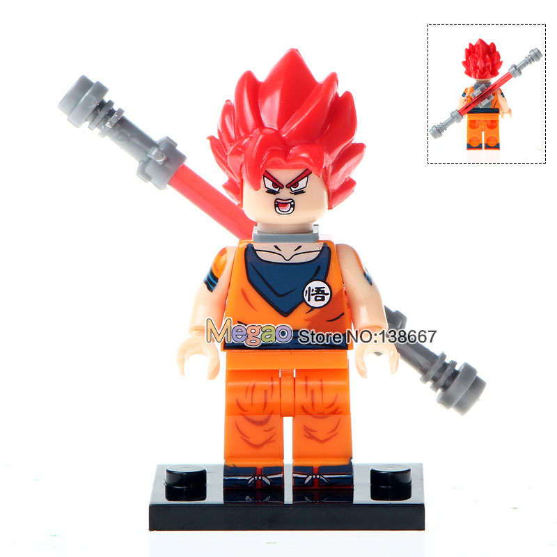 50pcs/lot Wm233 Dragon Ball Z Goku With Red Hair Building Blocks Dragon Ball Son Vegeta Master Bricks Kids Diy Toys Finely Processed Toys & Hobbies Model Building