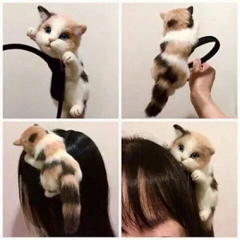 Haimeikang Japanese Style Mori Girl Lolita Kawaii Cat Head Hairbands Party Headdress Headwear Ornament Hair Hoop Accessories