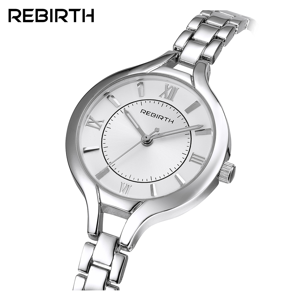 Luxury Brand REBIRTH Fashion Quartz Watch Women Ladies Stainless Steel Bracelet Watches Casual Clock Female Dress Gift Relogio 2017 luxury brand women watch stainless steel rhinestones bracelet quartz watches fashion ladies dress clock relogio feminino