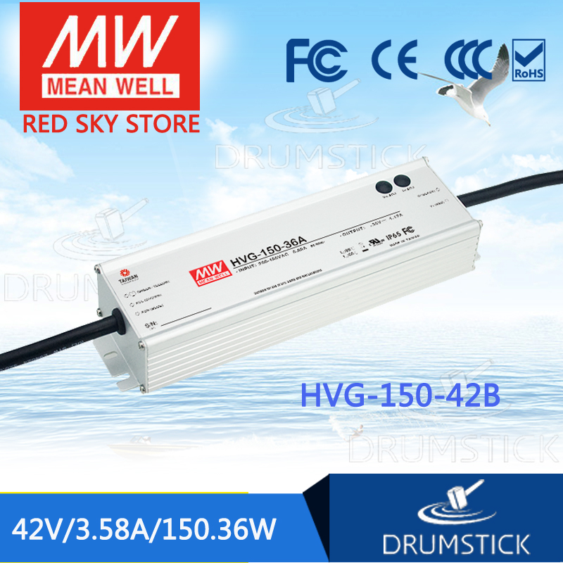 MEAN WELL HVG-150-42B 42V 3.58A meanwell HVG-150 42V 150.36W Single Output LED Driver Power Supply B type mean well clg 150 12b 12v 11a meanwell clg 150 12v 132w single output led switching power supply [real6]
