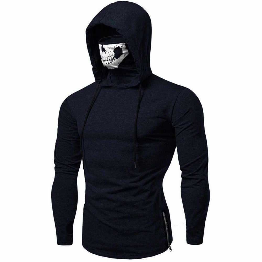 Mode Hoodies Sweatshirt Männer Maske Schädel Spleißen Pullover Top Langarm patchwork Mit Kapuze Sweatshirt Tops Moletom Männer Moletom