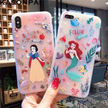 Hermosa nieve blanco Cenicienta Rapunzel de la princesa sirena suave TPU caso para iPhone XS Max XR X 6 6 S 7 8 Plus caso lindo de la historieta