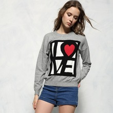 high quality New Fashion 2016 Designer Runway sweater women's wool knitted letter love grey color warm sweater jumper pullover