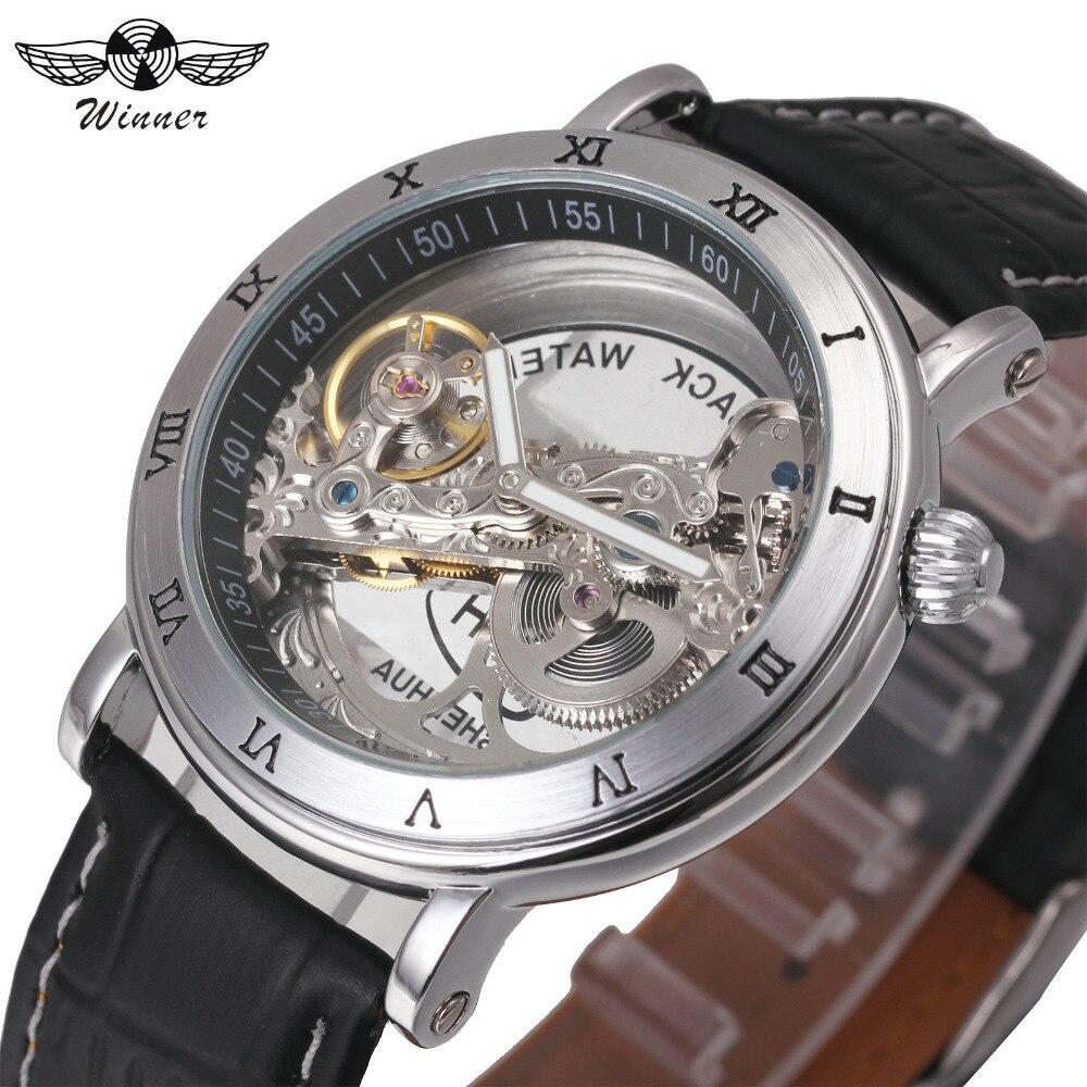 Top Brand WINNER Mechanical Skeleton Wrist Watches Luxury Golden Bridge Genuine Leather Strap Men's Watches Montre Homme