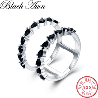 BLACK AWN 100 Real 925 Sterling Silver Black Spinel Elegant Rings For Women Hollow Sterling