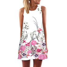 Винтаж Для женщин Boho мини пляжное платье летние женские пикантные без рукавов с цветочным принтом Платья для вечеринок Vestidos Прямая доставка # LH