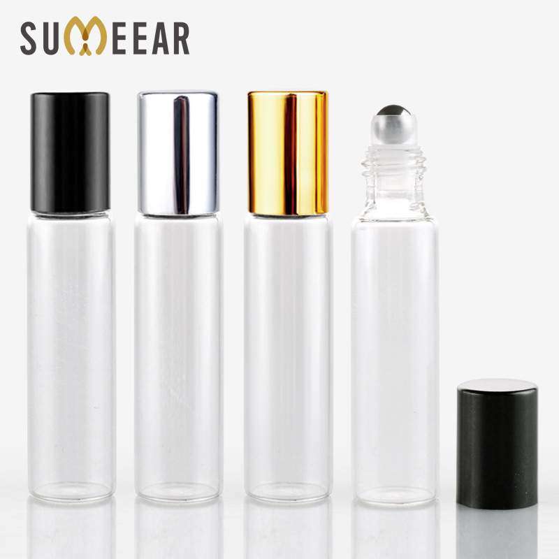 10ML Mini Glass With Steel Ball Bottle Perfume Bottles With Roll On Empty Cosmetic Essential Oil